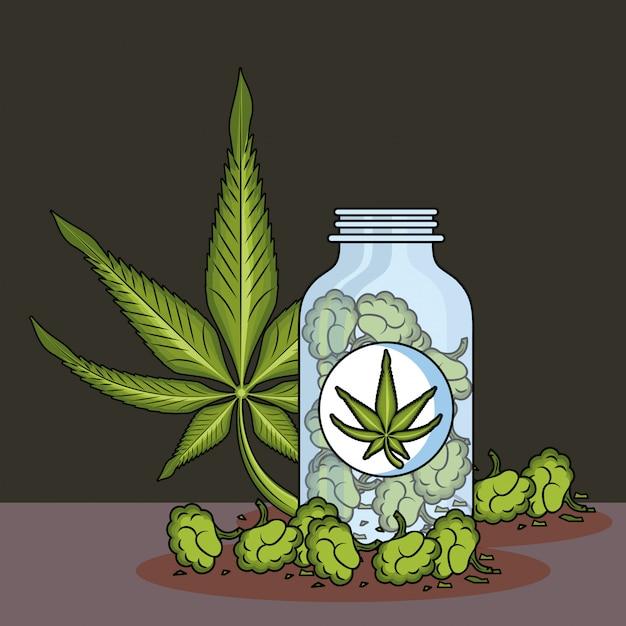 Cannabis medical cartoons Premium Vector