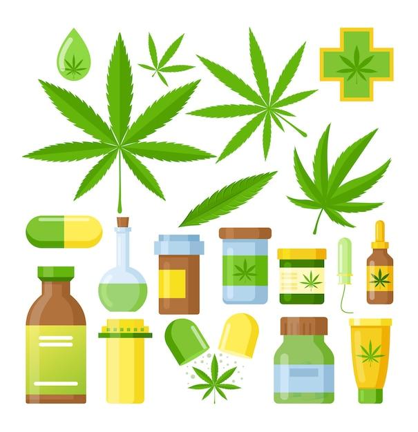 Cannabis medicine cartoon  medical marijuana set with hemp oil glass bottle, cannabis extracts Premium Vector