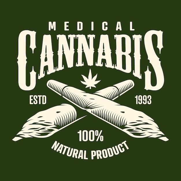 Cannabis monochrome emblem Free Vector