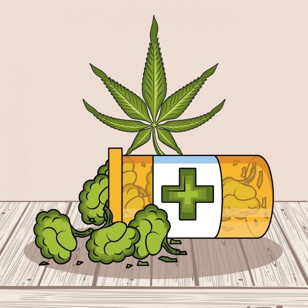 Cannabis natural medicine Premium Vector