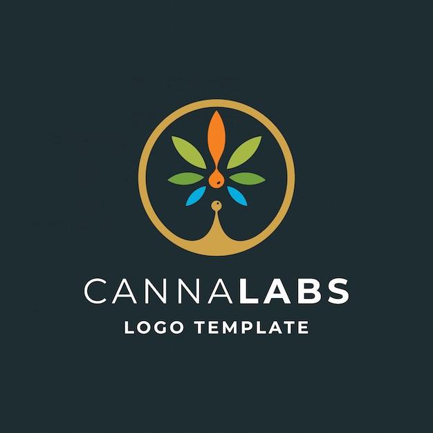 Cannabis with drop oil modern logo Premium Vector