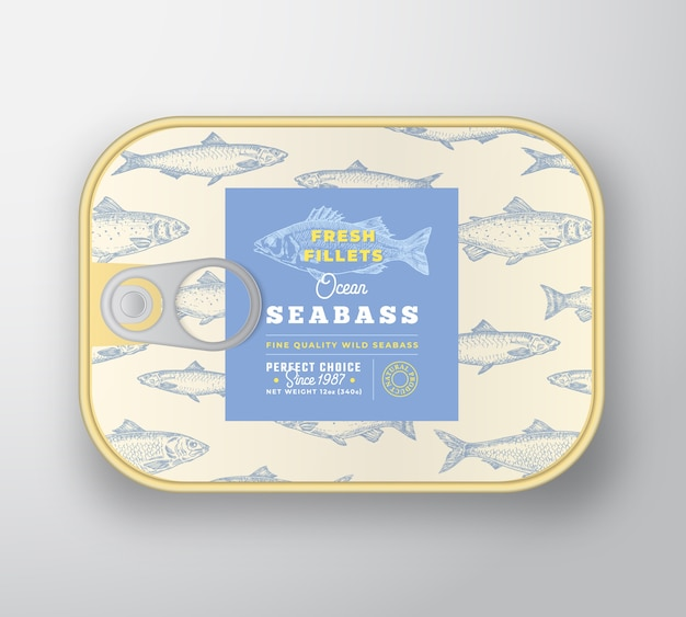 Canned fish label template. abstract  fish aluminium container with label cover. Free Vector