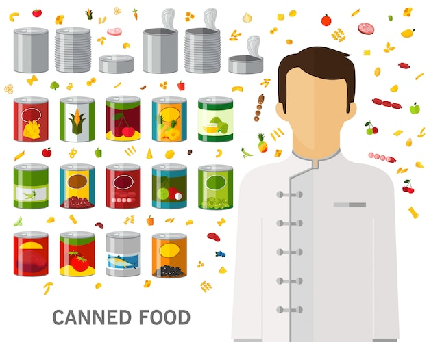Canned food concept background. flat icons. Premium Vector