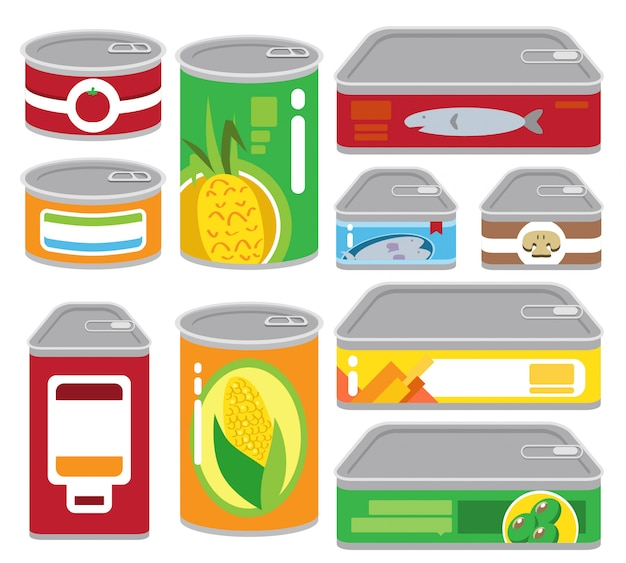 Canned food illustration set Premium Vector