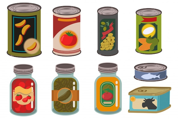 Canned food in metal tin and glass jar set. Premium Vector