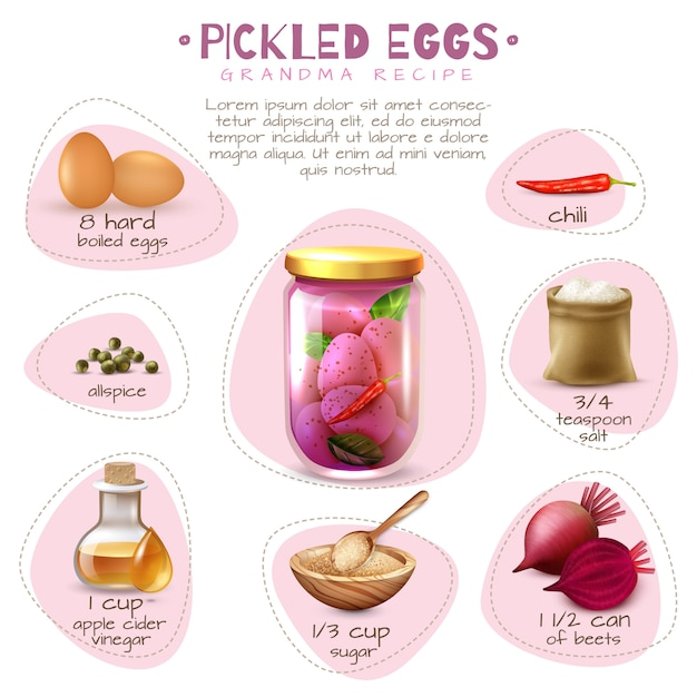 Canned food pickled eggs poster Free Vector