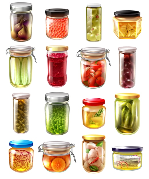 Canned food set Free Vector