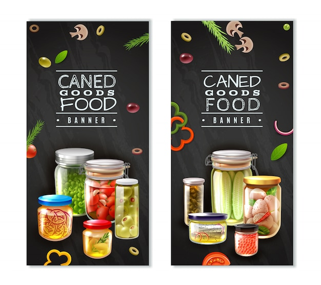 Canned food vertical banners Free Vector