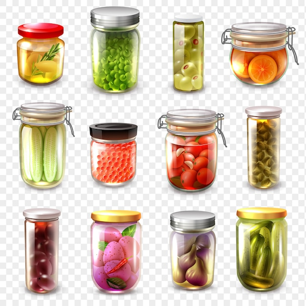 Canned goods set transparent background Free Vector
