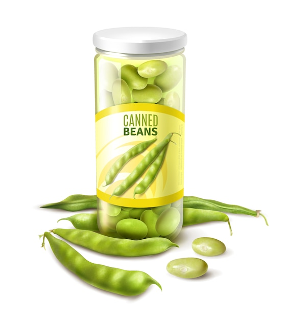 Canned green beans in glass jar realistic close up composition with fresh pods vector illustration Free Vector