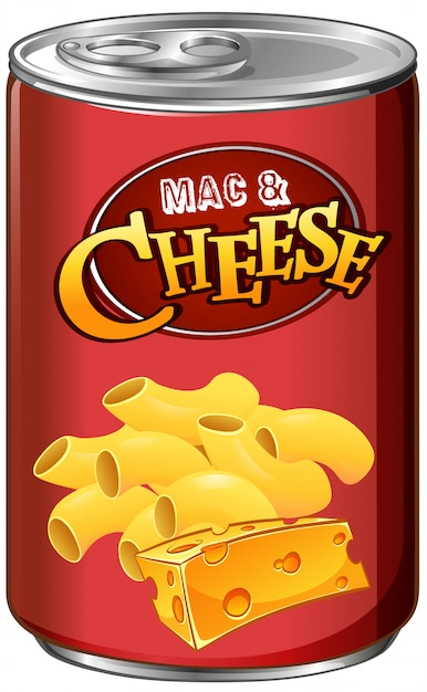 Canned mac and cheese on white Free Vector