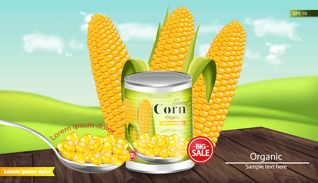 Canned sweet corn mockup Premium Vector