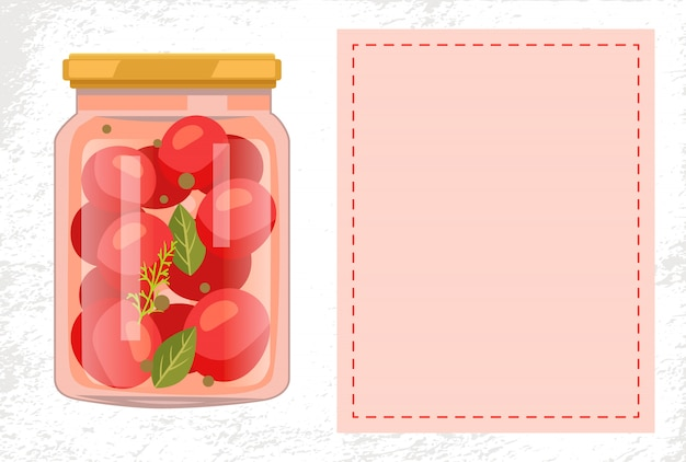 Canned tomato veggies preserved food in glass jar Premium Vector