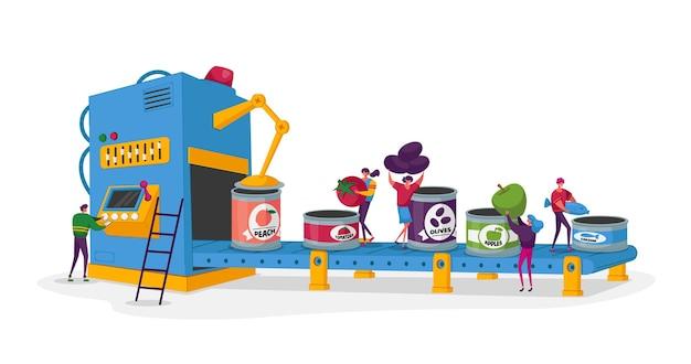 缶詰工場の作業プロセス缶詰の果物と野菜小さなキャラクターが新鮮な野菜を缶に入れます Premiumベクター