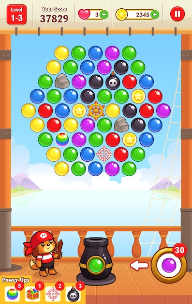 Cannon ball shooter game assets Premium Vector