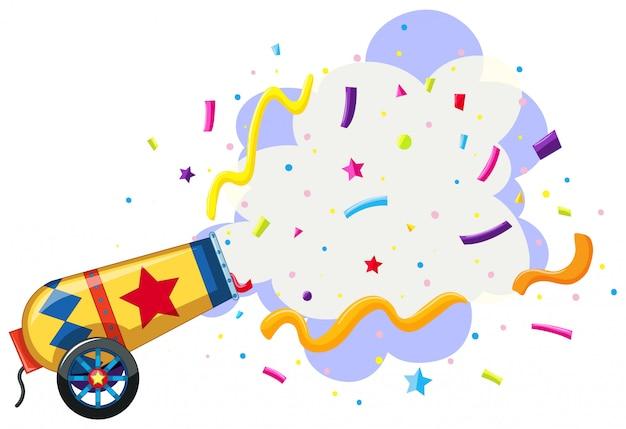 Cannon exploding confetti background Free Vector