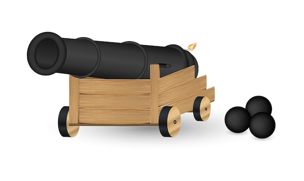 Cannon with a cannonball on a white background Premium Vector
