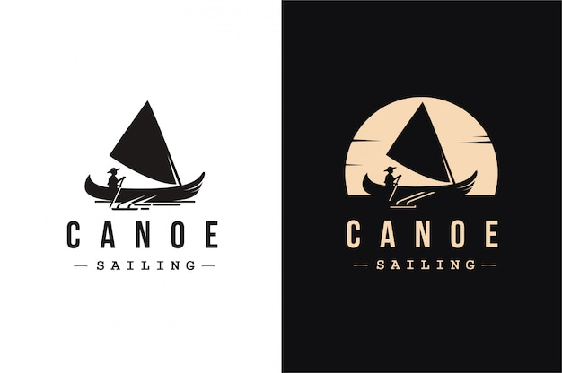 Canoe sailing logo Premium Vector