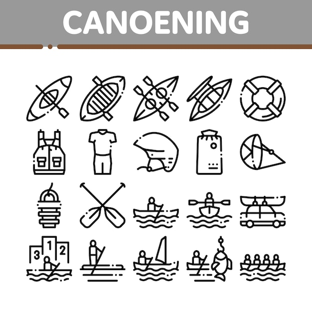 Canoeing collection elements icons set Premium Vector