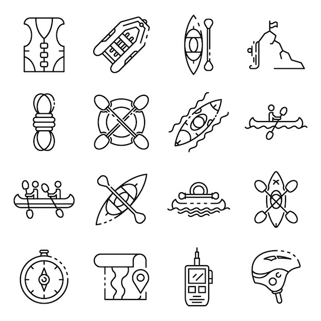 Canoeing icons set, outline style Premium Vector