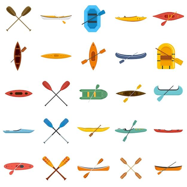 Canoeing icons set Premium Vector