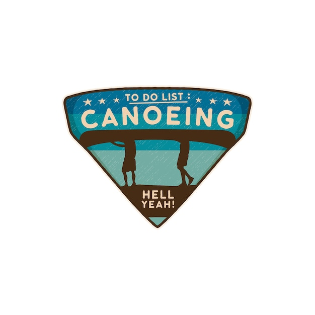 Canoeing logo emblem. vintage hand drawn travel badge canoe patch Premium Vector