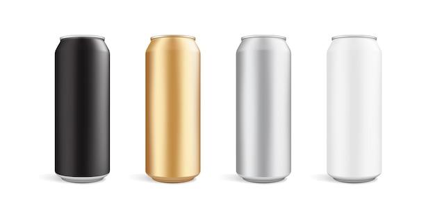 白い背景で隔離のさまざまな色の缶 Premiumベクター