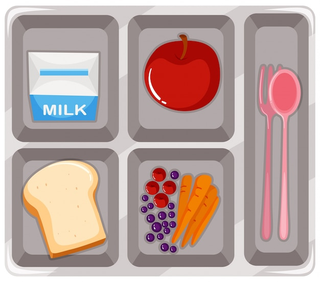Canteen food with fruit and milk Free Vector
