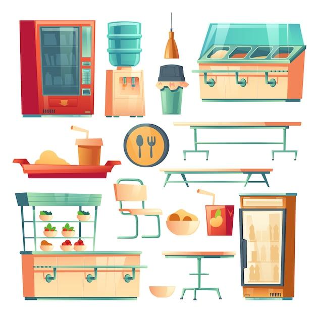 学校、大学、オフィスの食堂の家具 無料ベクター