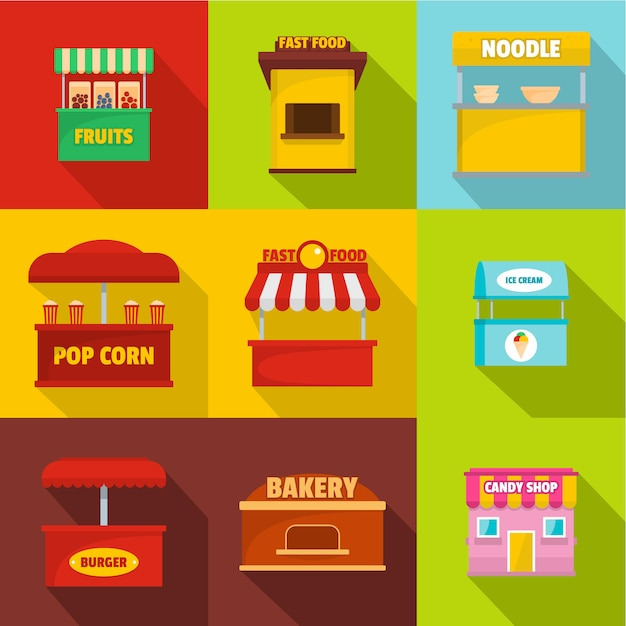 Canteen icons set. flat set of 9 canteen icons Premium Vector