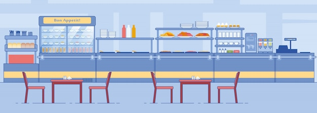 Canteen interior empty dining room with counter Premium Vector