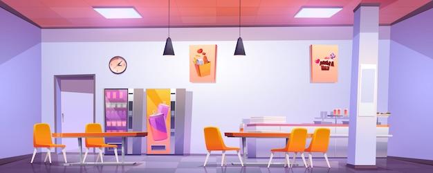 学校、大学、オフィスの食堂のインテリア 無料ベクター