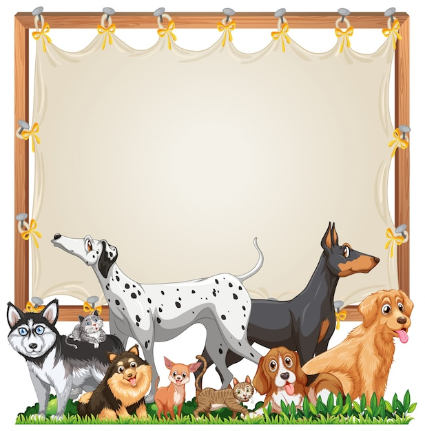 Canvas wooden frame template with cute dogs group isolated Free Vector