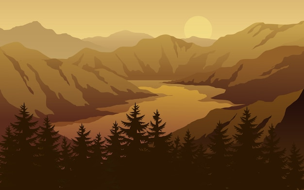 Canyon and river sunset landscape Premium Vector