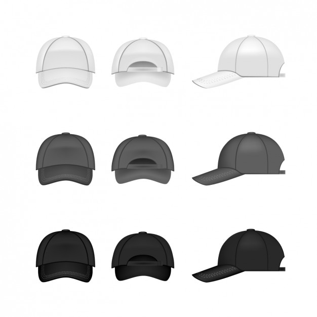 Cap designs collection Free Vector
