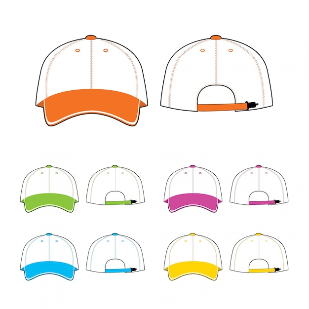 Cap template. front and back view. Premium Vector