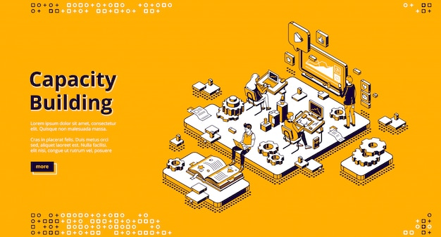 Capacity building isometric landing page. Free Vector