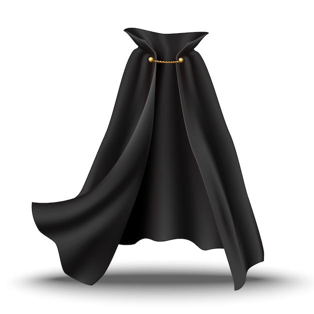 Накидка черного цвета с золотыми вставками. струящаяся волнистая ткань для карнавала, вампира, ведьмы или иллюзиониста. Premium векторы