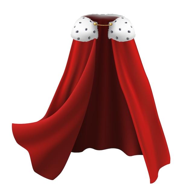 Накидка красного цвета с белым мехом и золотыми вставками. Premium векторы