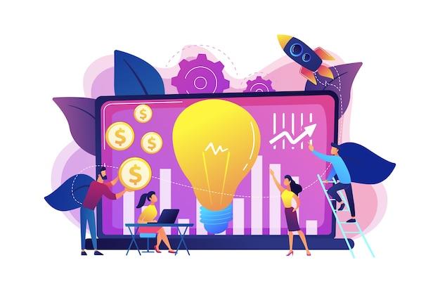 成長の可能性が高い中小企業への資金調達。ベンチャーキャピタル、ベンチャー投資、ベンチャーファイナンス、ビジネスエンジェルコンセプト。明るく鮮やかな紫の孤立したイラスト 無料ベクター
