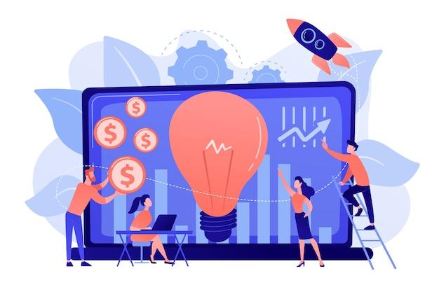 成長の可能性が高い中小企業への資金調達。ベンチャーキャピタル、ベンチャー投資、ベンチャーファイナンス、ビジネスエンジェルコンセプト 無料ベクター