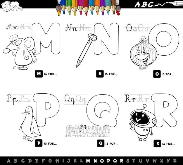 Capital letters alphabet educational set Premium Vector