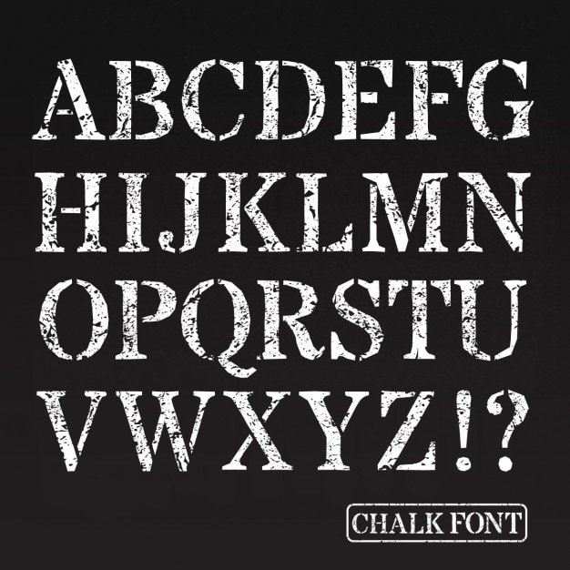 Capital Letters Chalk Font Vector