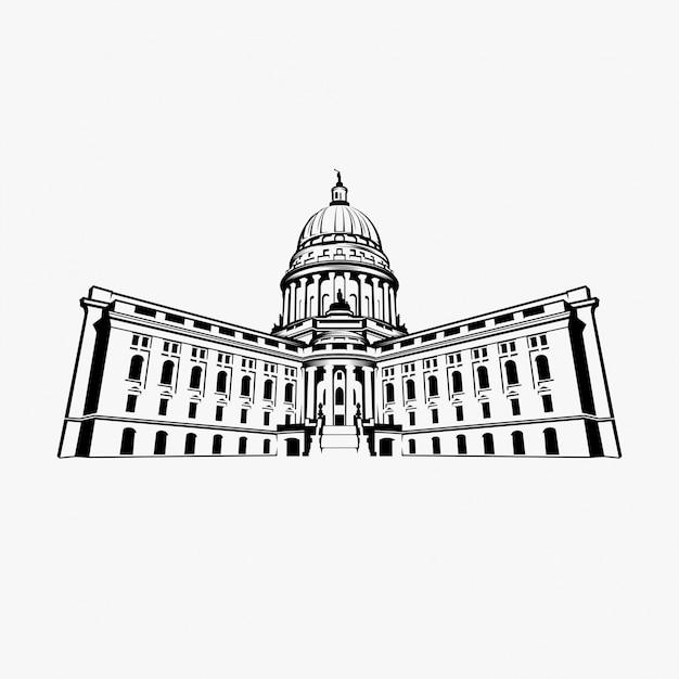 Capitol dome Premium Vector