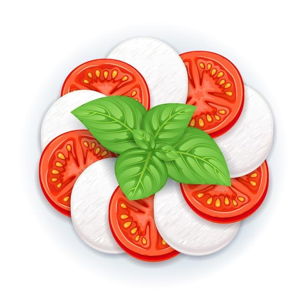 Caprese salad vector - mozzarella, tomato and basil leaves. Premium Vector