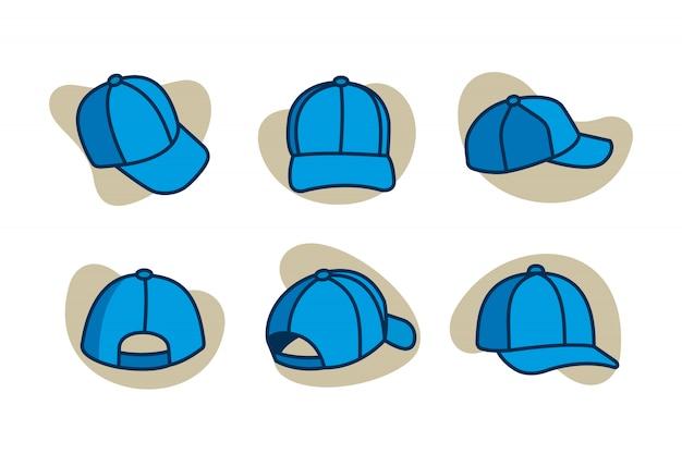 Caps cartoon icon set Premium Vector