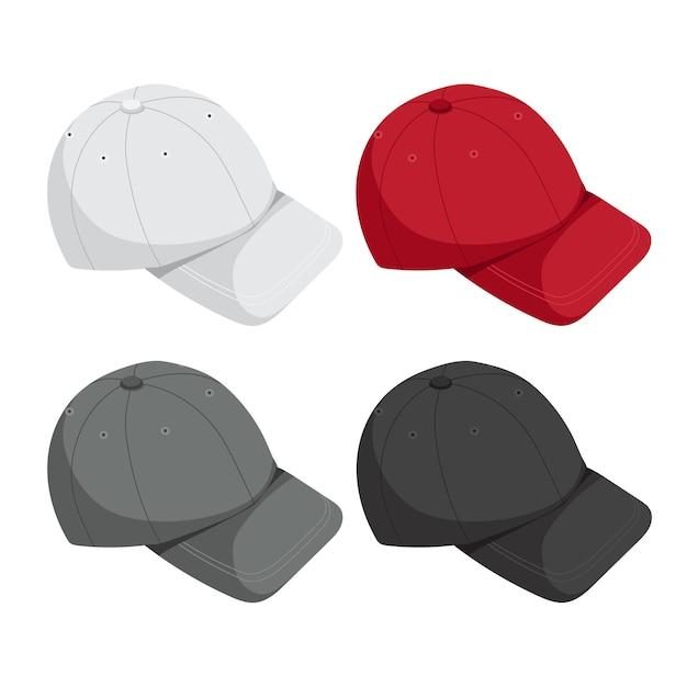 Caps mock up collection Premium Vector