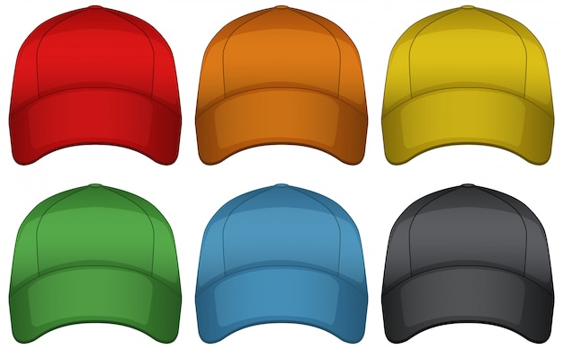 Caps in six different colors Free Vector