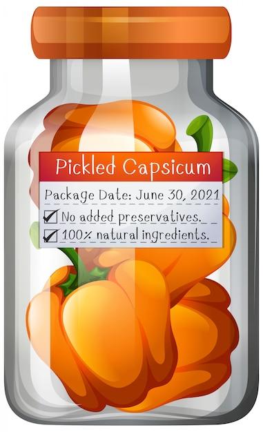 Capsicum preserve in glass jar Free Vector