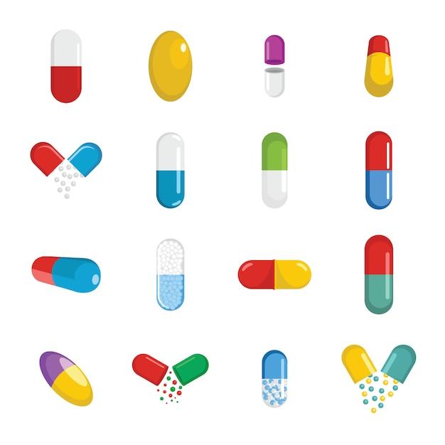 Capsule pill medicine icons set Premium Vector